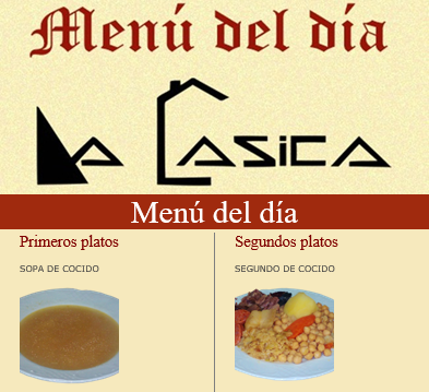 captura newsletter menu del día La Casica